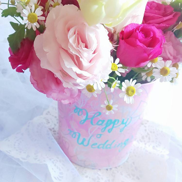 可憐なウェルカムブーケで素敵な記念日を★~ジューンブライドのリメイク缶~